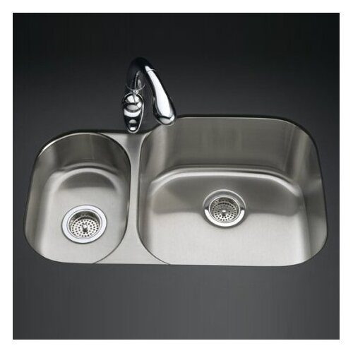 "Kohler Undertone 30-3/4"" X 20-1/8"" X 9-5/8"" Under-Mount High/Low Double Rounded Bowl Kitchen Sink"