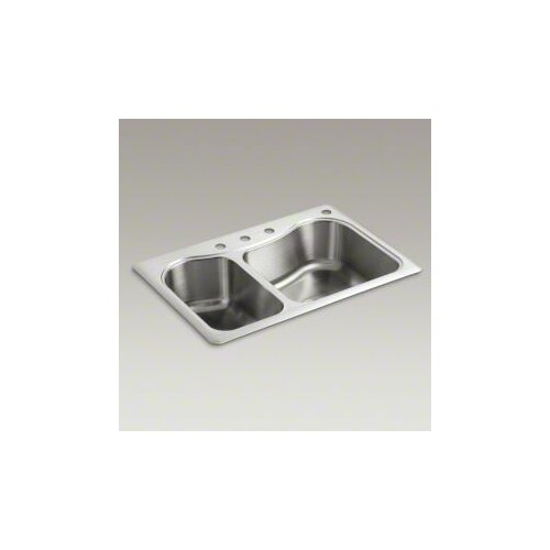 "Kohler Staccato 33"" X 22"" X 8-5/16"" Top-Mount Large/Medium Double-Bowl Kitchen Sink with 4 Faucet Holes"