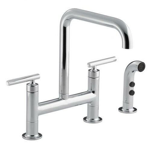 Kohler Purist Deck-Mount Bridge Faucet with Sidespray