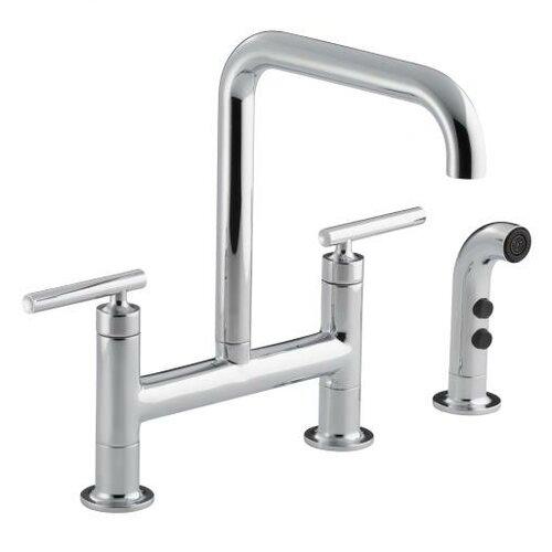 Kohler Purist Deck-Mount Bridge Faucet with Sidespray