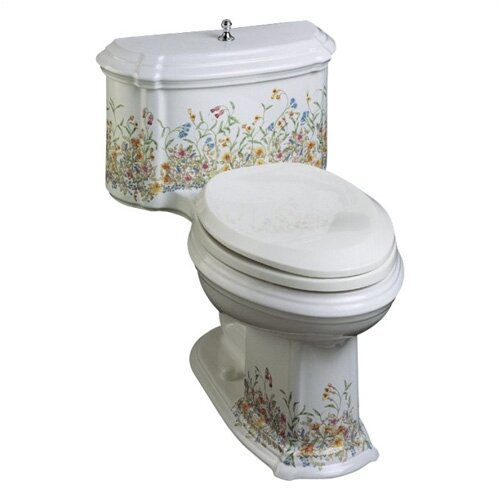 Portrait English Trellis Comfort Height One-Piece Elongated 1.6 Gpf Toilet with Class Five ...