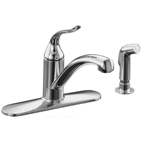 Coralais Decorator Kitchen Faucet with Escutcheon, Matching Finish Sidespray and Lever Handle