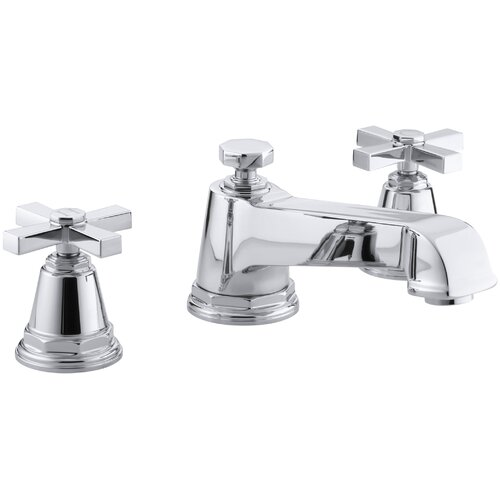Kohler Pinstripe Pure Deck-Mount High-Flow Bath Faucet Trim with Cross Handles, Valve Not Included