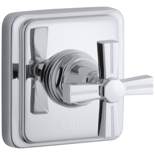 Kohler Pinstripe Volume Control Trim, Cross Handle, Valve Not Included