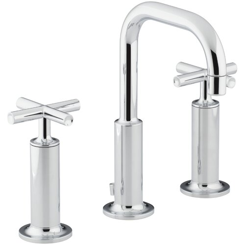 Kohler Purist Widespread Lavatory Faucet with Low Gooseneck Spout and High Cross Handles