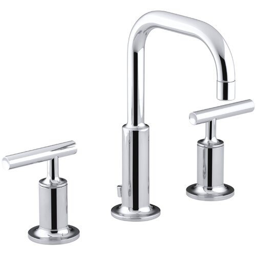 kohler purist widespread lavatory faucet with low gooseneck spout and