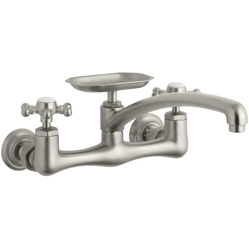 Kohler Antique Two-Hole Wall-Mount Kitchen Sink Faucet with 8