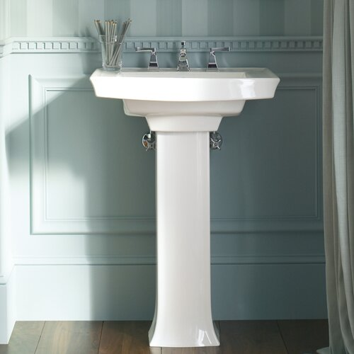 Kohler Small Pedestal Sink : Kohler Archer Pedestal Bathroom Sink with 8
