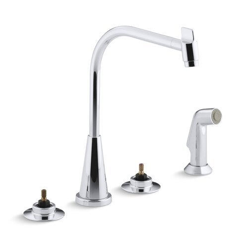 Triton Kitchen Faucet with Multi-Swivel Swing Spout and Sidespray, Requires Handles