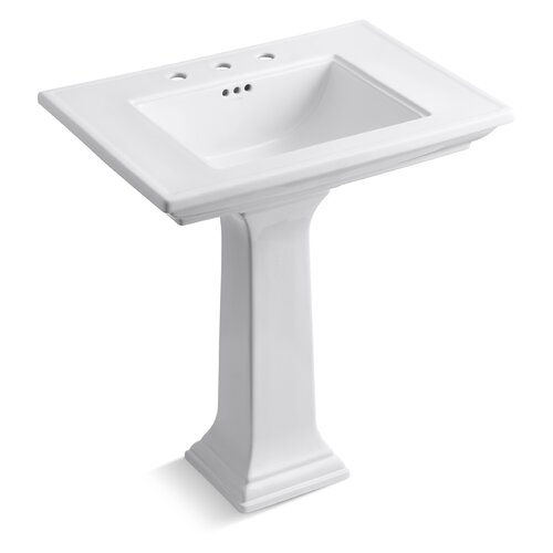 """Kohler Memoirs Pedestal Lavatory with 8"""" Centers and Stately Design"""