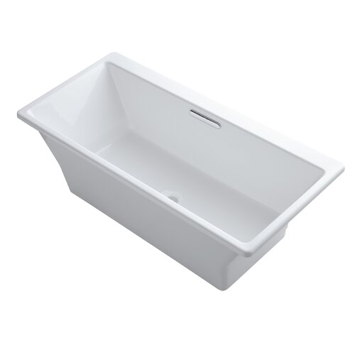 "Kohler Rêve 67"" X 32"" Freestanding Bath with Brilliant Blanc Base Without Jet Trim"
