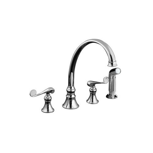 "Kohler Revival Kitchen Faucet with 9-3/16"" Spout, Sidespray and Scroll Lever Handles"