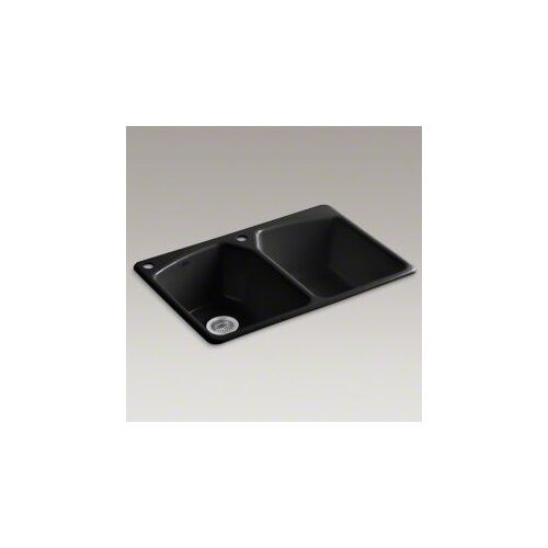 "Kohler Tanager 33"" x 22"" Top-Mount Double-Equal Bowl Kitchen Sink with With Two Holes: 1 Faucet Hole and Left Hand Accessory Hole"