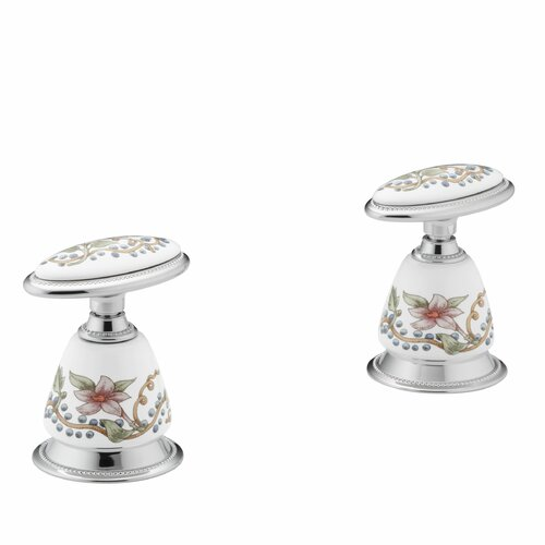Kohler Antique English Trellis Ceramic Handle Insets and Skirts for Bath Faucets