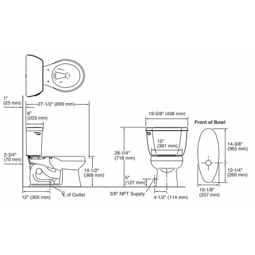 Kohler Wellworth Classic Two-Piece Round-Front 1.28 Gpf Toilet with Class Five Flush Technology and Left-Hand Trip Lever