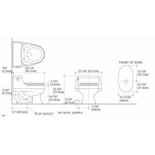 Kohler Rialto One-Piece Round-Front 1.6 Gpf Toilet with Rim Jet Flush Technology, Left-Hand Trip Lever and French Curve Toilet Seat
