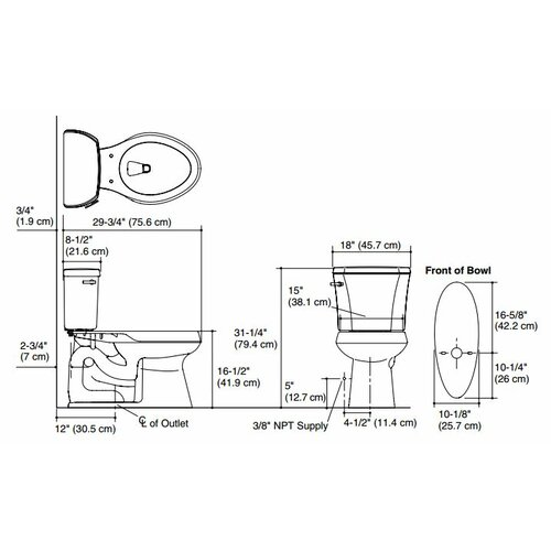 """Kohler Highline 1.28 GPF Two-Piece Comfort Height Elongated Toilet with 12"""" Rough In, Right Hand Trip Lever and Insuliner"""