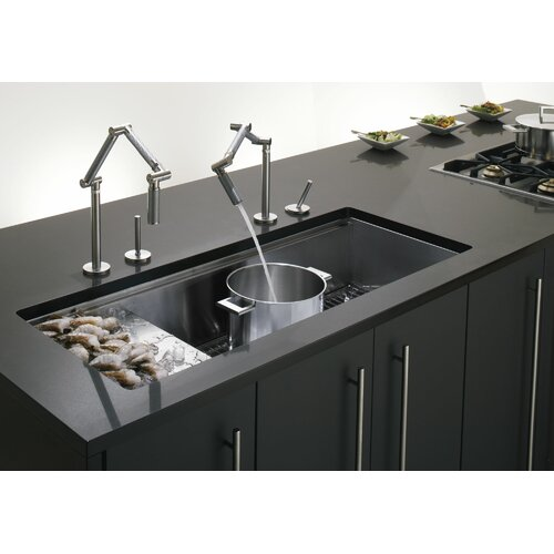 "Kohler Stages 45"" x 18.5"" Under-Mount Single-Bowl with Wet Surface Area Kitchen Sink"