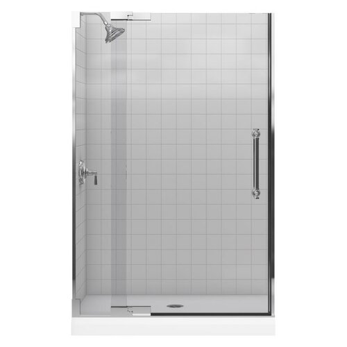 "Kohler Purist 45.25"" - 47.75"" W x 72.25"" H Pivot Shower Door with 0.5"" Crystal Clear Glass"