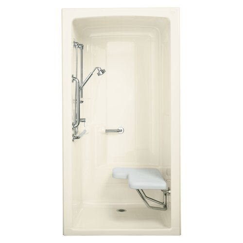 "Kohler Freewill  37.75"" x 45"" One-Piece Barrier-Free Transfer Shower Module with Grab Bars and Seat On Right"