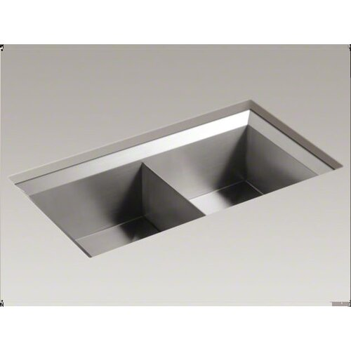 "Kohler Poise 33"" X 18"" X 9-1/2"" Under-Mount Double-Equal Bowl Kitchen Sink"