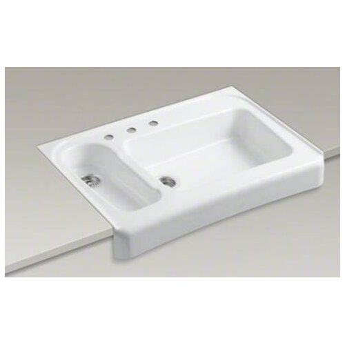 "Kohler Assure 36"" x 25.5"" Barrier Free Tile-in / Undermount Double Bowl Kitchen Sink with 3 Faucet Holes"