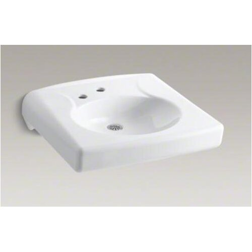 Brenham Wall-Mount Lavatory with Single-Hole Drilling and Left-Hand Soap Dispenser Hole and No ...