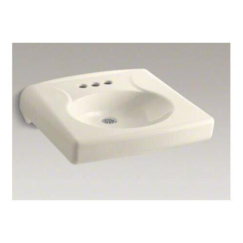 "Kohler Brenham Wall-Mount Lavatory with 4"" Centerset, Less Soap Dispenser Hole and Overflow"