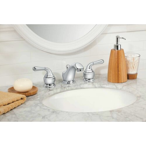 Monticello Inspirations Widespread Low Arc Bathroom Faucet with Double Lever Handles