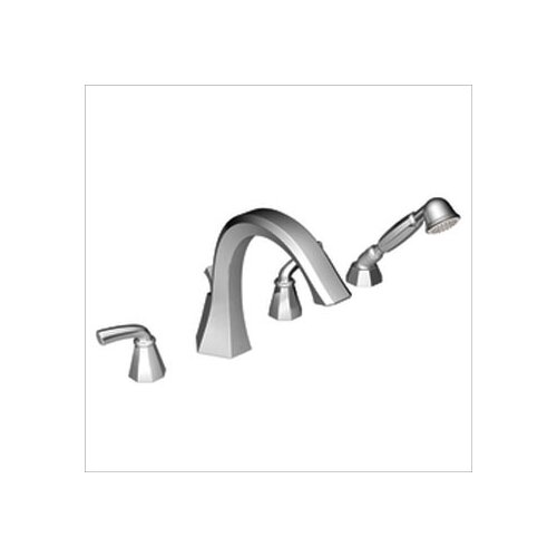 Moen Felicity Double Handle Roman Tub Faucet with Built-in Hand Shower Diverter