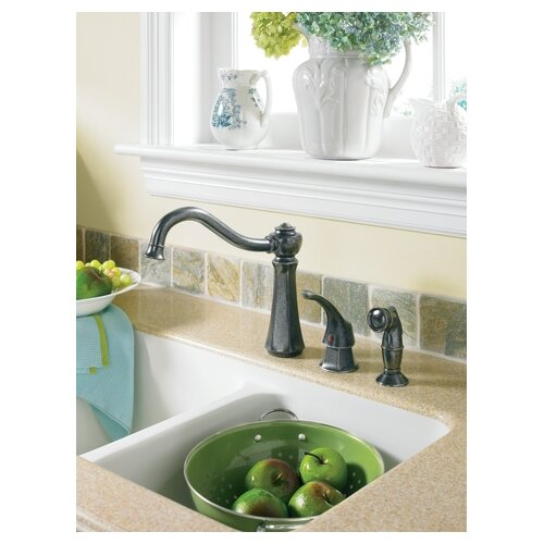 Vestige One Handle High Arc Kitchen Faucet with Side Spray