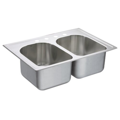 "Moen Lancelot 33"" x 22"" Double Bowl Drop In Kitchen Sink"