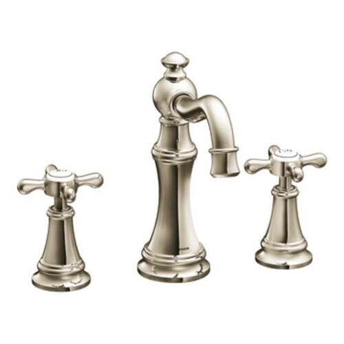 Moen Weymouth Double Cross Handle Widespread High Arc Bathroom Faucet