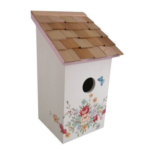 Home Bazaar Botanical Printed Cottage Salt Box Birdhouse