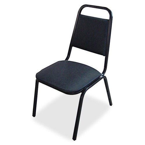 Upholstered Stacking Chairs 4-Pack, Black