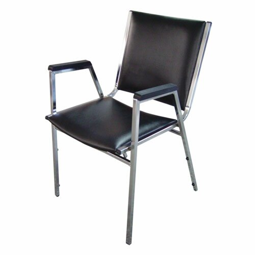 Lorell Plastic Arm Stacking Chairs, Black (Set of 4)