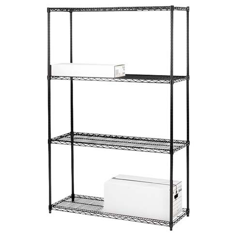 "Lorell 2-Extra Industrial Wire Shelves, 36"" x 18"", Black"