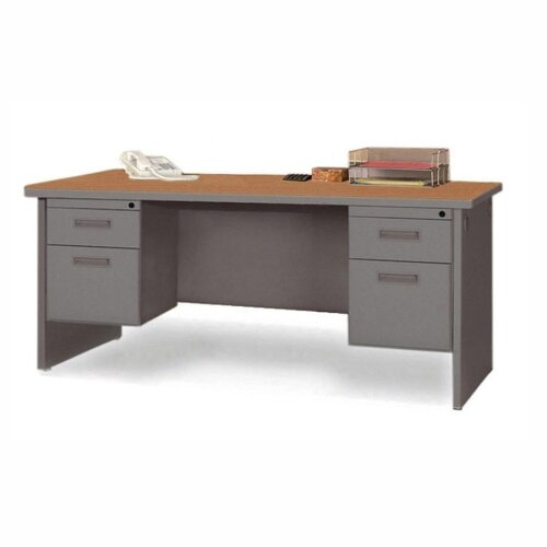 Lorell Durable Double Pedestal Writing Desk Computer Writing Desk with Radius Edges