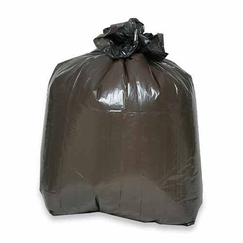 Genuine Joe (60 per Carton) 30 Gallon 2-ply Puncture-resistant Liners, Brown/black
