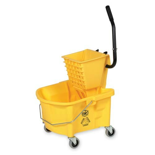 Genuine Joe Splash Guard Mop Bucket/Wringer, Yellow/black
