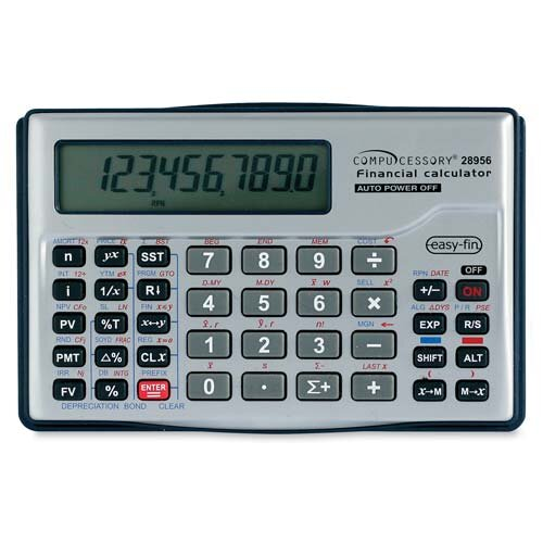Compucessory Compucessory 10-dgt Handheld Financial Calculator, Silver
