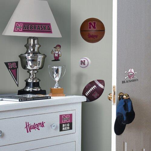 Room Mates Collegiate Sports 21 Piece Appliqué Nebraska Huskers Wall Decal Set