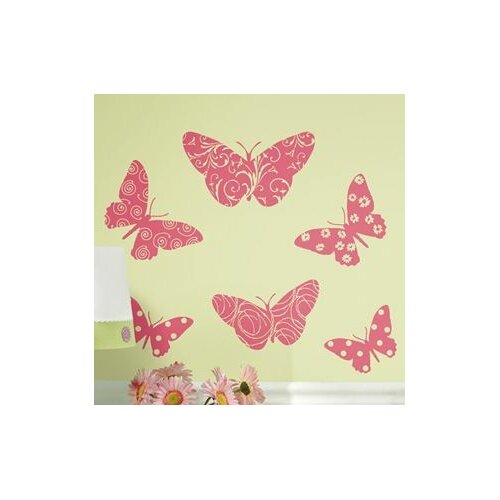 Room Mates 10 Piece Deco Flocked Pink Butterfly Wall Decal Set
