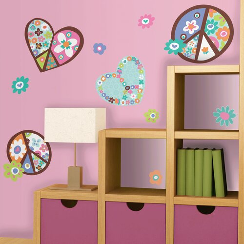Room Mates Deco Heart and Peace Sign Wall Decal