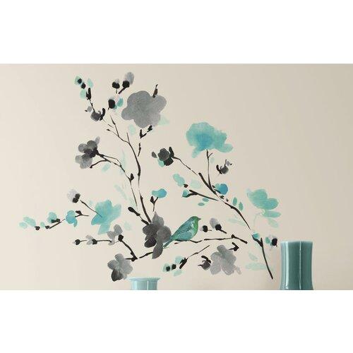 Watercolor bird branch peel and stick wall decal amp reviews wayfair