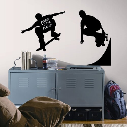 Room Mates Peel and Stick 3 Piece Chalkboard Skaters Wall Decal Set