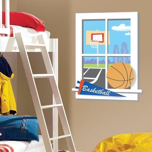 Room Mates Backyard Basketball Window Sticker