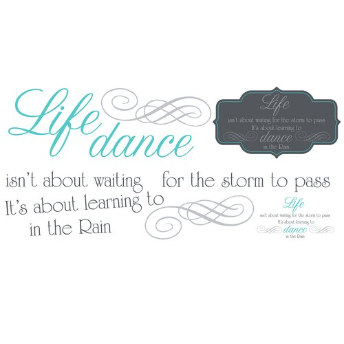 Room Mates 10 Piece Peel & Stick Wall Decals/Wall Stickers Dance The Rain Quote Wall Decal Set