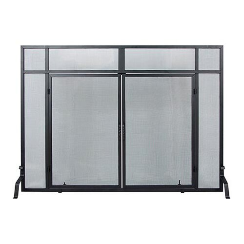 Minuteman International Windowpane 4 Panel Wrought Iron Fireplace Screens with Doors