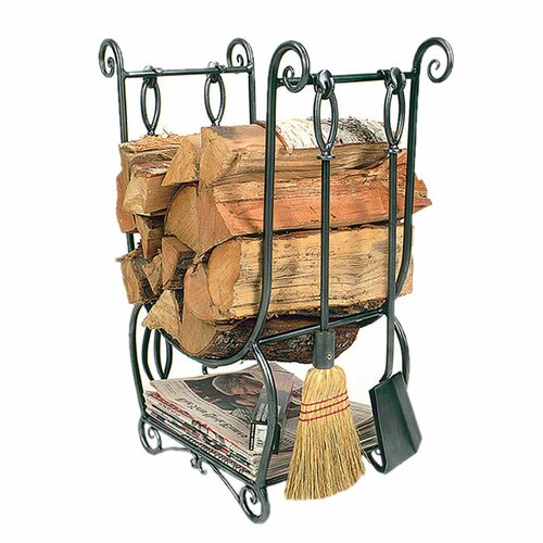 Minuteman International Country Wrought Iron Log Holder with Tools